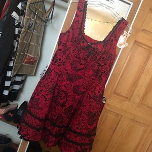 Hot topic red lace detail dress.